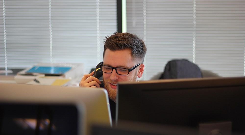 man at call center