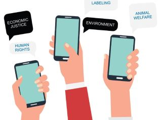 hands holding apps with ethical phrases