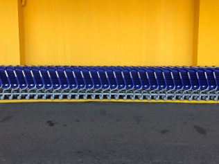 long line of grocery carts