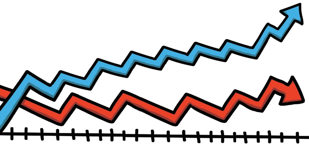 cartoon line graph
