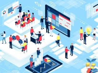 illustration of people navigating digital space