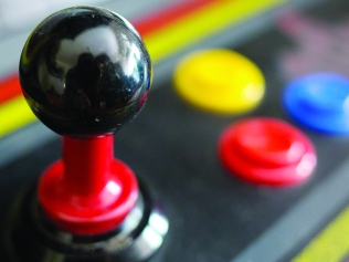 Joystick of a vintage arcade video game