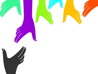 multicolored hands reaching down toward one grey hand reaching up
