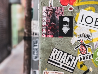 brand stickers in the city