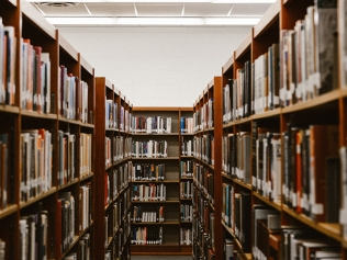 shelves of books in library