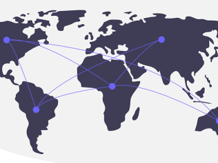 world map connected by lines