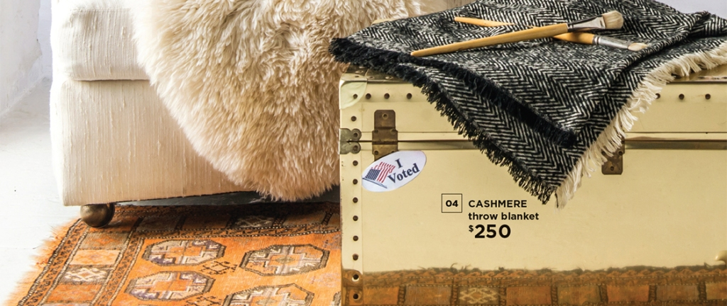 luggage trunk with I Voted sticker