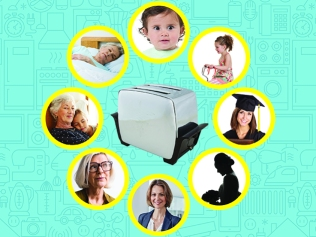 toaster with life cycle of woman surrounding it