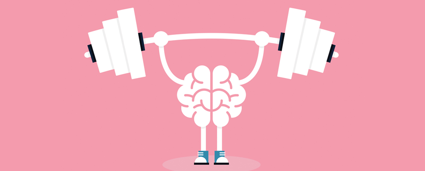 brain with arms and legs lifting barbell