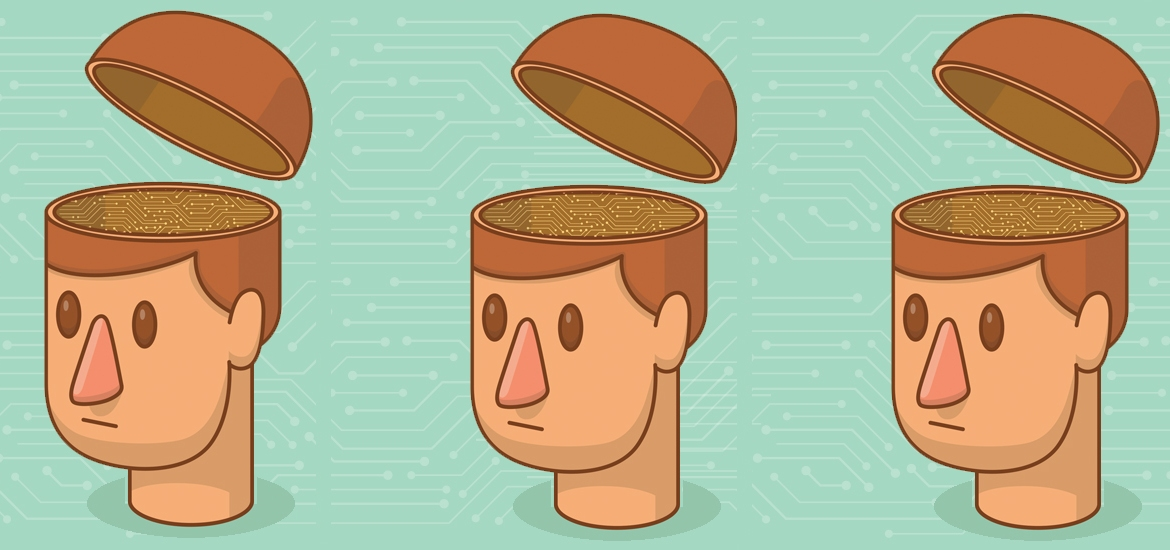 three illustrated heads with brains replaced with circuits