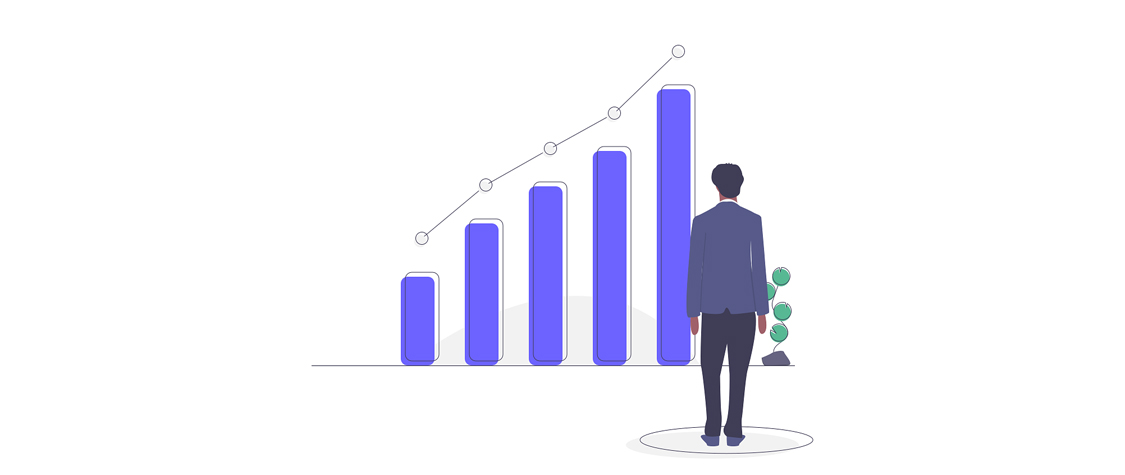 illustration of man standing in front of bar graph increasing value