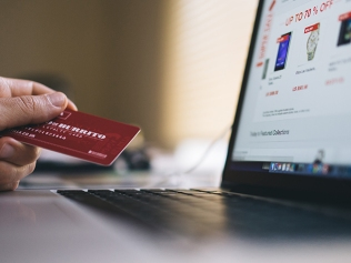 person holding credit card while shopping on laptop