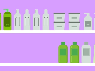 illustration of green products on shelves
