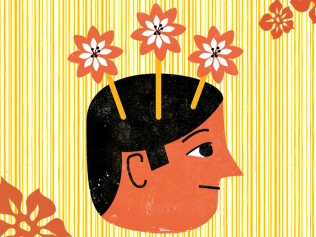illustration of smiling head in profile with three flowers sprouting from its head