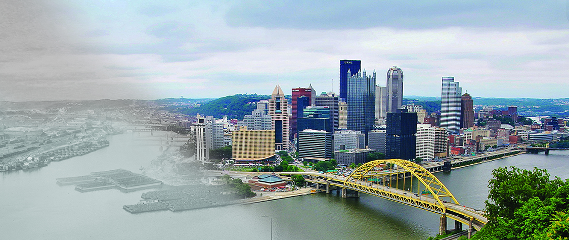 composite image of Pittsburgh skyline, past and present