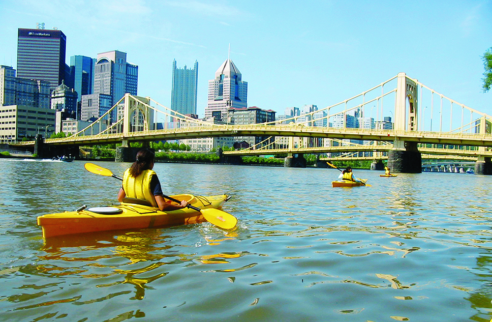 kayak on river in Pittsburgh