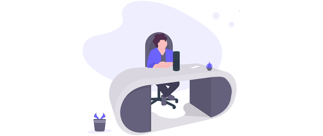 illustration of person seated at desk with voice search tool