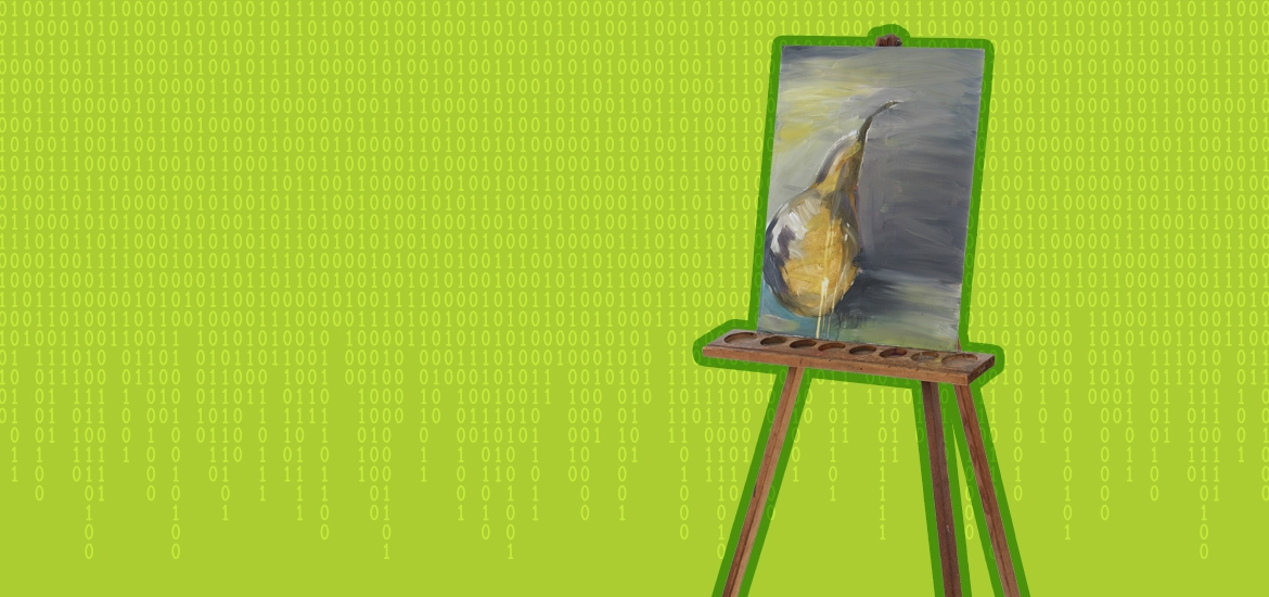 easel surrounded by binary code against green background