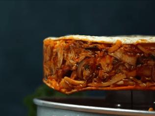 a quesadilla-stuffed pizza