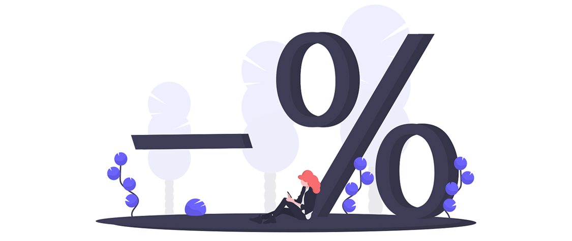 illustration of woman sitting next to percent symbol