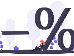 illustration of woman sitting next to percent symbol
