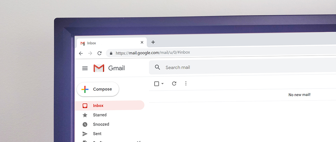 Gmail displayed on computer monitor