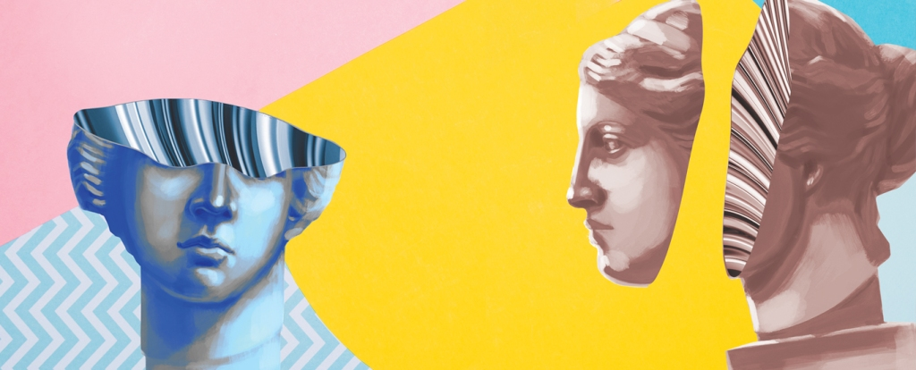 statue busts against multicolored background