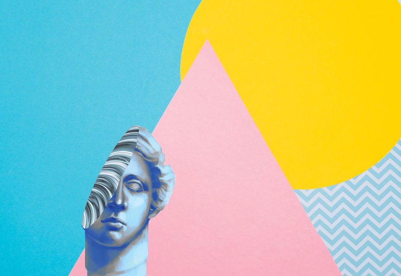bust with multicolored background