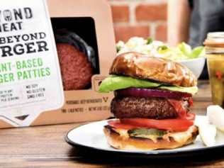 the beyond burger in front of its packaging