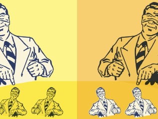 illustration of blindfolded smiling men pointing downward