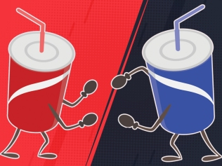 illustration of red and blue soda cups fighting
