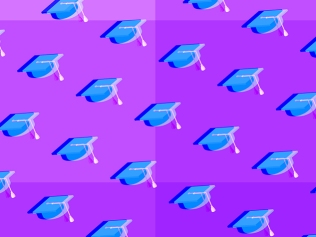 pattern of mortarboards against purple background