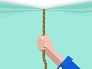 illustration of hand pulling down curtain with rope