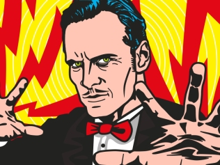 illustration of hypnotist with yellow and red thunderbolts coming out of outstretched hands