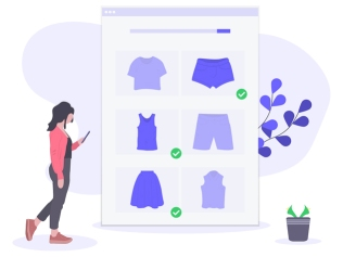 illustration of woman shopping for clothing online