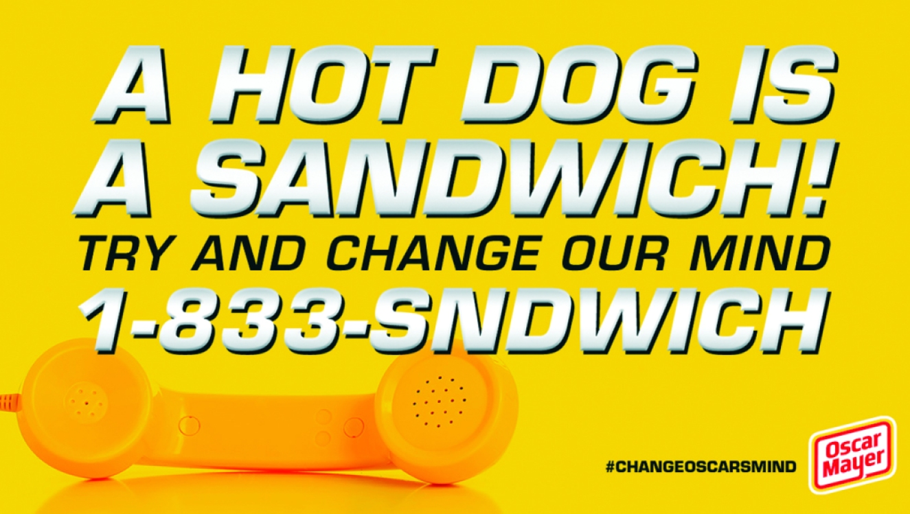 oscar mayer hot dog is a sandwich hotline graphic