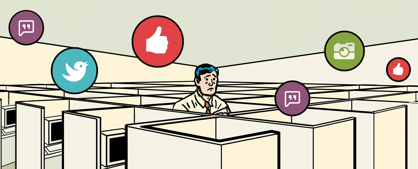illustration of sad man in sea of cubicles surrounded by social media likes
