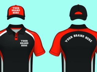 orange and black shirts and hats with 'your brand here' text
