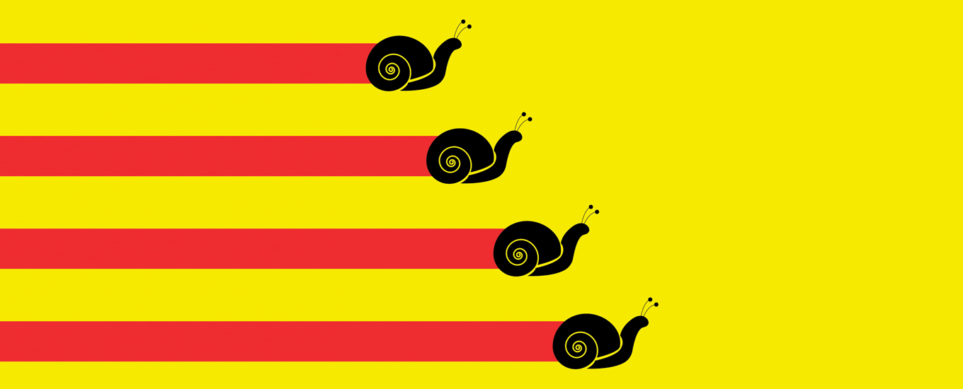 illustration of snails crawling to right at varying lengths