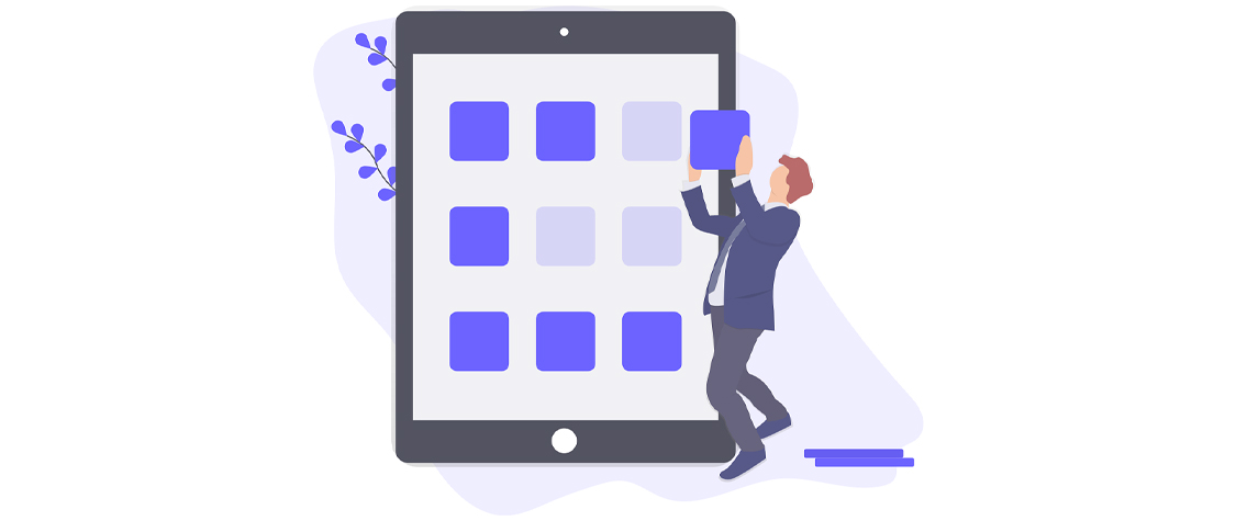 illustration of person inserting squares onto tablet surface