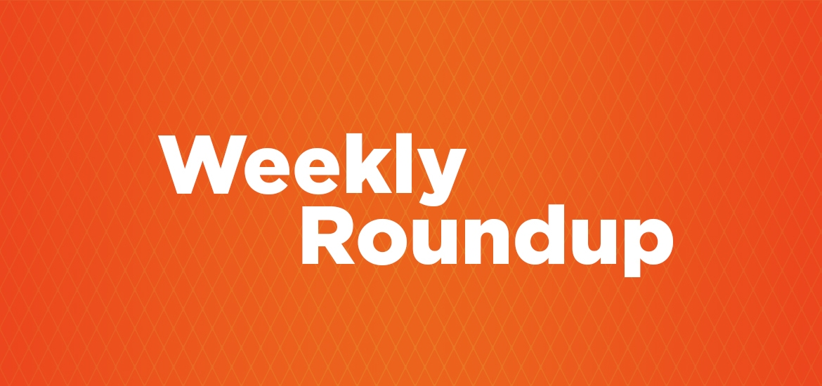 weekly roundup image, orange background