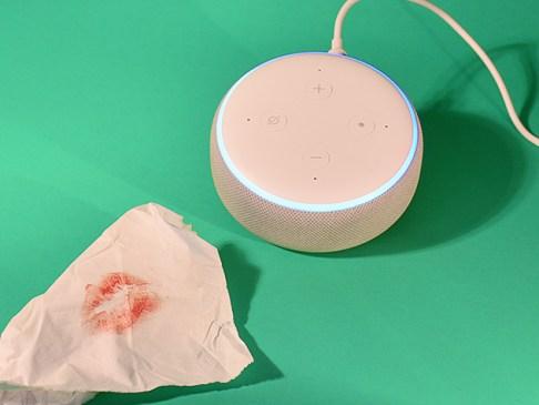 tissue with lipstick stain alongside amazon echo speaker