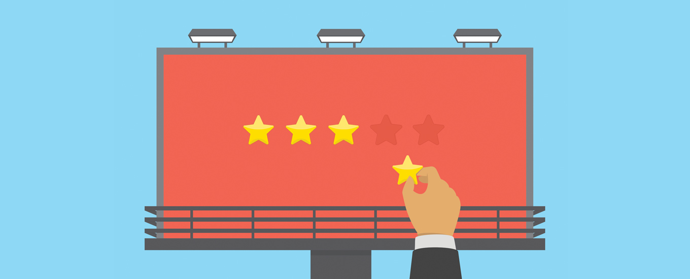 illustration of hand removing star from red billboard with three gold stars