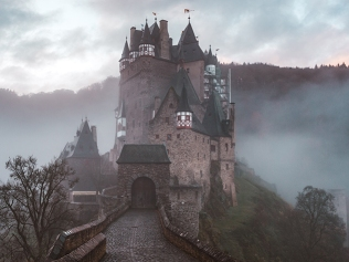 castle amid fog