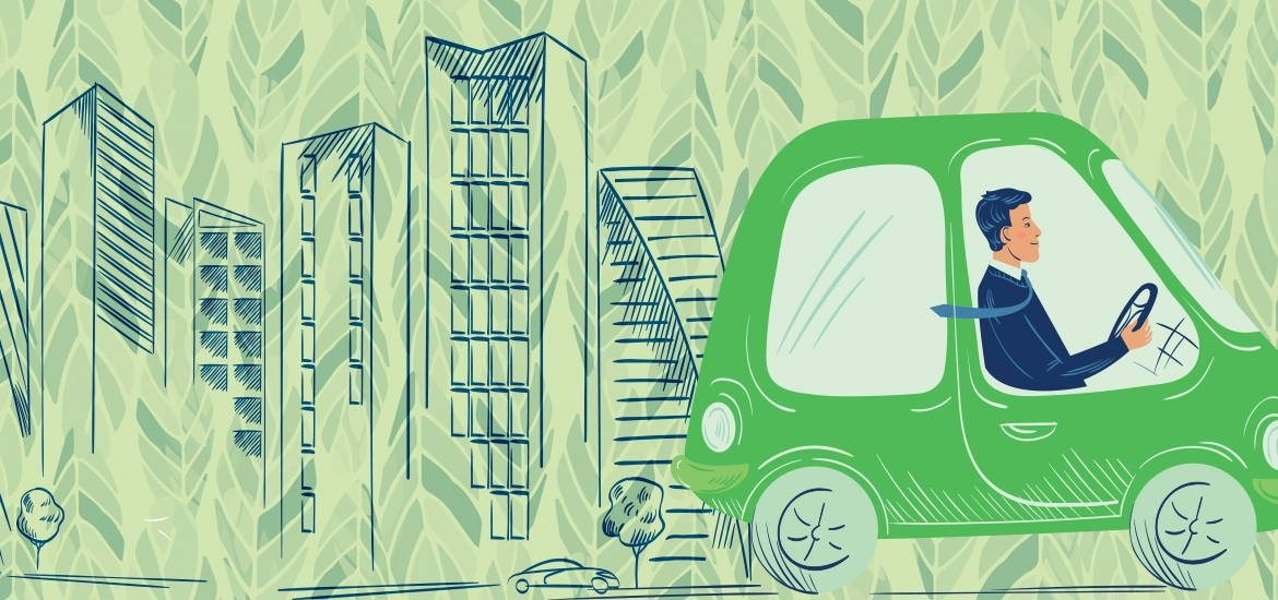 illustration of smiling driver in green car