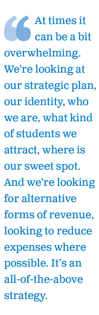 At times it can be a bit overwhelming. We're looking at our strategic plan, our identity, who we are, what kind of students we attract, where is our sweet spot. And we're looking for alternative forms of revenue, looking to reduce expenses where possible. It's an all-of-the-above strategy.