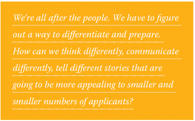 We're all after the people. We have to figure out a way to differentiate and prepare. How can we think differently, communicate differently, tell different stories that are going to be more appealing to smaller and smaller numbers of applicants?