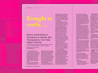 image of magazine page against pink background