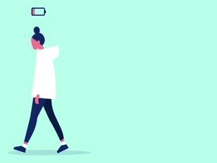 illustration of woman walking to left with low battery icon above her