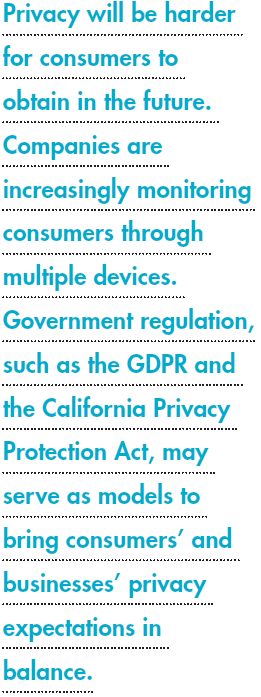 Privacy will be harder for consumers to obtain in the future. Companies are increasingly monitoring consumers through multiple devices. Government regulation, such as the GDPR and the California Privacy Protection Act, may serve as models to bring consumers' and businesses' privacy expectations in balance.